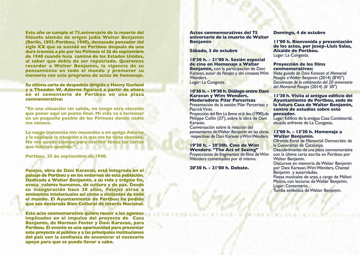75º Aniversario de la muerte de Walter Benjamin