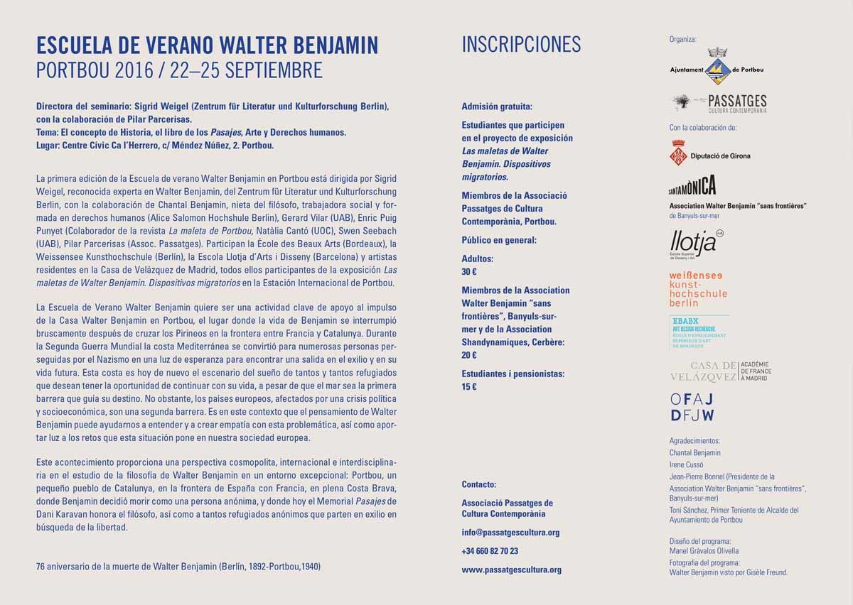 I Escuela de Verano Walter Benjamin y actos conmemorativos