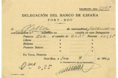 Justificant de canvi de moneda del Banco de España 0