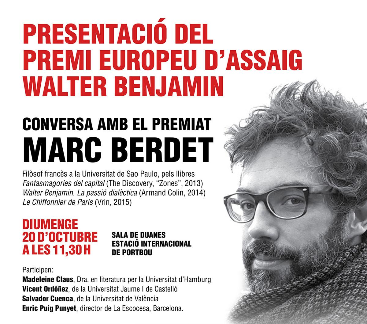 Presentació Premi Europeu d'Assaig Walter Benjamin